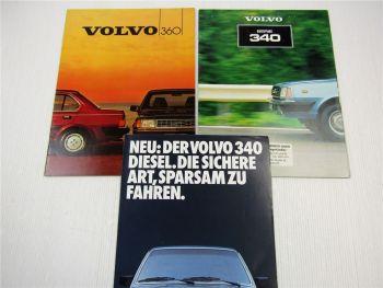 3 Prospekte Volvo 340 360 Beschreibung Technische Daten 1981 1984 1985