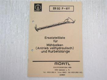 Mörtl UNI Florett Mähbalken Antrieb vollhydraulisch Ersatzteilliste 1991
