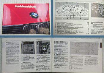 BMW E36 Betriebsanleitung Bedienungsanleitung 1988 316 318 320 325 i td touring