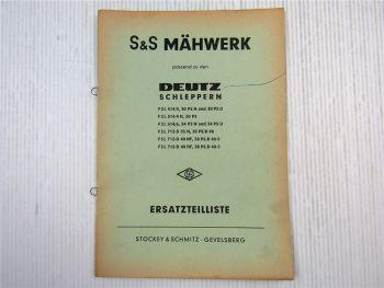 S&S Mähwerk an Deutz Schlepper F2L514 F3L712-D Ersatzteilliste Ersatzteilkatalog