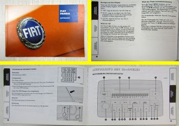 Fiat Panda Autoradio Kassette CD Betriebsanleitung Bedienung 07/2003
