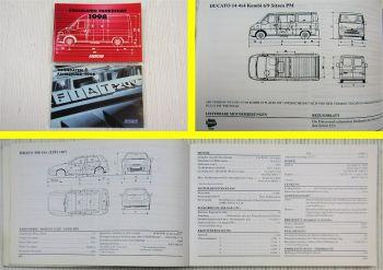 2x Fiat Kenndaten PKW Nutzfahrzeuge 1998 Seicento Scudo Ducato Bravo Brava Marea