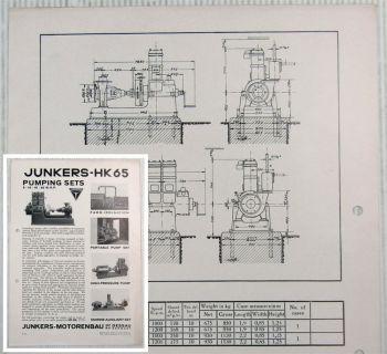 Brochure Junkers 1HK-65 2HK-65 Pumping Sets 8-10 16-20 B.H.P. Datasheet 30s