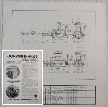 Junkers 1SHK-65 2SHK65 Heavy-Duty Marine Engines 8-10 16-20 B.H.P. Datasheet 30s