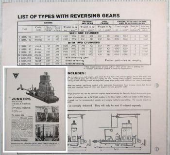 Brochure Junkers 1SHK 2SHK Marine Diesel Engines opposed pistons Datasheet 1930
