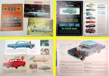 3x Prospekt Chevrolet Impala Sport Sedan Chevy II 1961 and 1962 Brochure