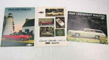 3x Prospekt Chevrolet Chevelle Chevy II Corvette Corvair 1966 and 1968 Brochure