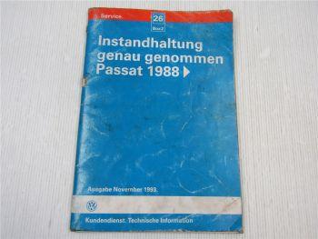 Werkstatthandbuch VW Passat B3 31 / 35i Instandhaltung genau genommen 1993