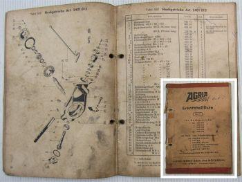 Agria Ersatzteilliste Hackgetriebe Fräseinrichtung Kriechganggetriebe 01/1972