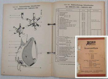 Agria Ersatzteilliste Hackgetriebe Fräseinrichtung Kriechganggetriebe 05/1973