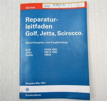 Reparaturleitfaden VW Golf 1 Diesel Einspritzung Vorglühanlage CK CR CY JK