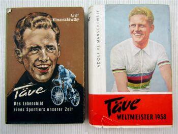 2x Täve, Radrennsportler DDR A. Klimanschewsky 1950er Friedensfahrt