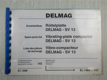 Delmag SV 13 Rüttelplatte Ersatzteilliste Ersatzteilkatalog Parts List 1998