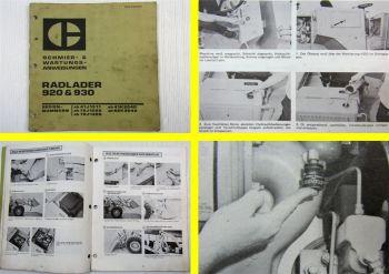 Caterpillar 920 930 Radlader Schmier- und Wartungsanweisung 11/1974