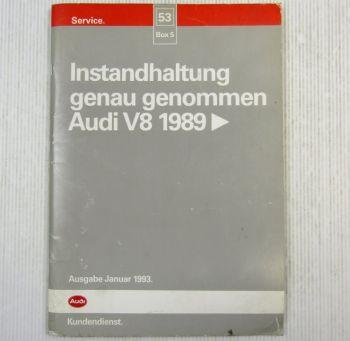 Reparaturanleitung Audi V8 D11 Instandhaltung Inspektion 1993 PT ABH