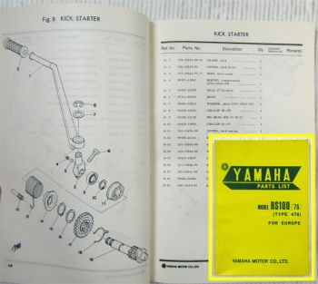 Yamaha Model RS100 Type 478 for Europe  Parts list Ersatzteilliste Dec. 1974