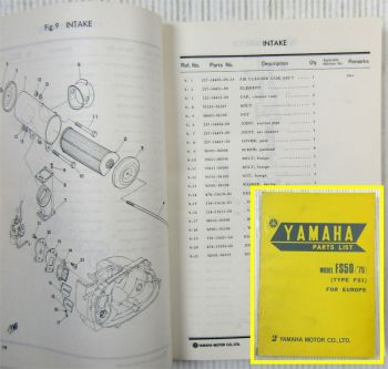 Yamaha Model FS50 (75) Type FS1 for Europe Parts list Ersatzteilliste Oct 1974
