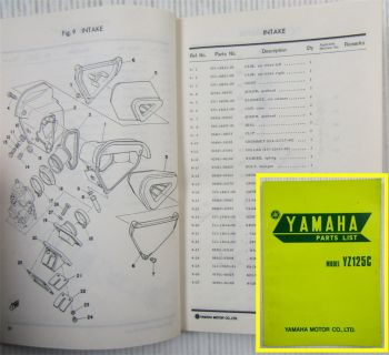 Yamaha Model YZ125C  Spare Parts list Ersatzteilliste edition Dec. 1974