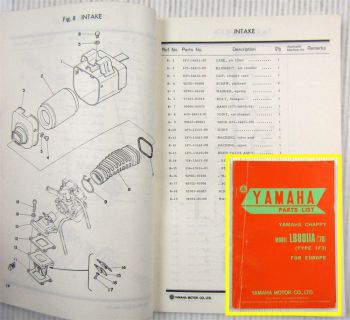 Yamaha Chappy LB80IIA Type 1F3 for Europe Parts list Ersatzteilliste 11/1975