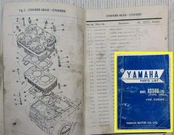 Yamaha Model XS500 Type 1H2 for Europe Parts list Ersatzteilliste 01/1976