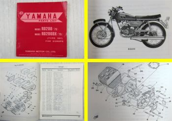 Yamaha RD200 RD200DX Type 397 for Europe Parts list Ersatzteilliste 03/1975