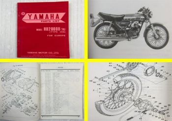 Yamaha RD200DX (´76) Type 1E8 for Europe Parts list Ersatzteilliste 02/1976