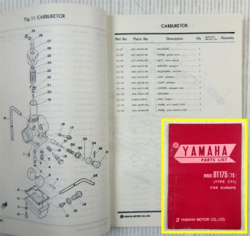 Yamaha DT175 (´75) Type CT1 for Europe Parts list Ersatzteilliste 10/1974