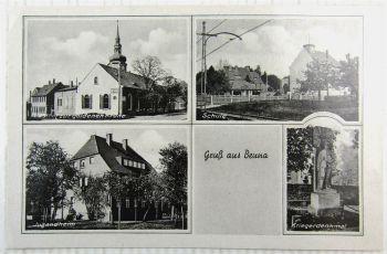 Ak Gruss aus Beuna bei Merseburg Geiselthal Gasthof zur Krone Schule