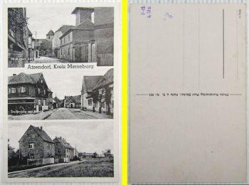AK Atzendorf b. Merseburg Blick zur Kirche Dorfstrasse Schule