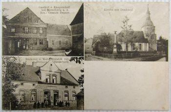 AK Knapendorf b. Merseburg Bäckerei Gasthaus Kirche mit Denkmal 1912