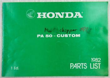 Honda PA50 Custom Parts List Ersatzteilliste 1982