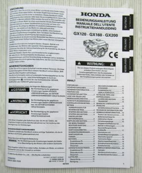 Honda GX120 160 200 Motor Betriebsanleitung Bedienung Manual Instruktiehandleitu