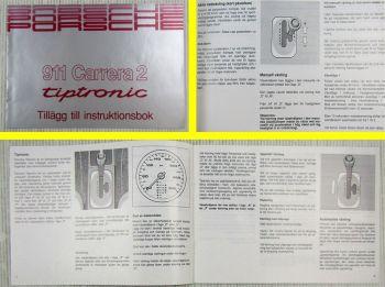 Porsche 911 Carrera 2 tiptronic Tillägg till instruktionsbook 01/1990