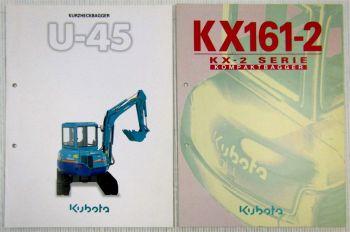 2 Prospekte Kubota U-45Kurzheckbagger und KX161-2 KX2-Serie Kompaktbagger