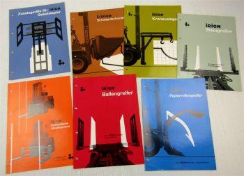 7 Prospekte Irion Zusatzgeräte Stein- Papierrollengreifer Kranausleger + Daten