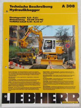 Prospekt Liebherr A308 Hydraulikbagger Technische Beschreibung Daten 03/1995