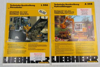2 Prospekte Liebherr A308 Hydraulikbagger L506 Stereolader Techn Beschreibung