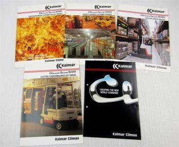 5 Prospekte Brochures Kalmar Climax England Series 2000 Fork Lift Trucks