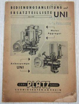 Platz Uni Anbau - u. Motorpumpe Bedienungsanleitung Ersatzteilliste 1959