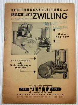 Platz Zwilling Anbau - u. Motorpumpe Bedienungsanleitung Ersatzteilliste 1960
