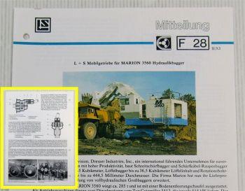 LuS Lohmann + Stolterfoht Getriebe für Marion 3560 Bagger Technische Mitteilung