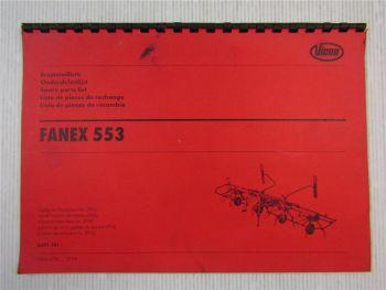 Vicon Fanex 553 Ersatzteilliste Spare parts List Onderdelenlijst 1998