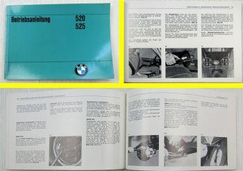 BMW E12 Betriebsanleitung Bedienungsanleitung 520 und 525 1973