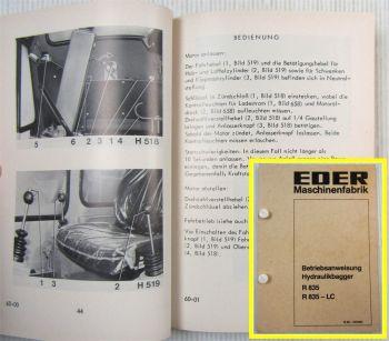 Eder R835 R835LC Hydraulikbagger Betriebsanleitung Betriebsanweisung