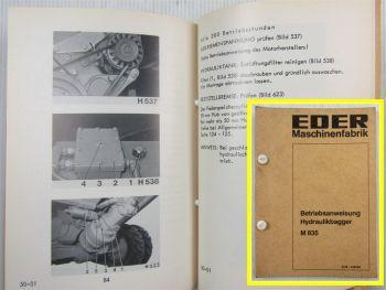 Eder M835 Hydraulikbagger Betriebsanleitung Wartung Bedienung