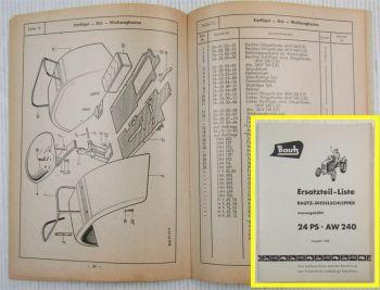 Ersatzteilkatalog Bautz AW240 Schlepper 24 PS Ersatzteilliste 1958 AW 240