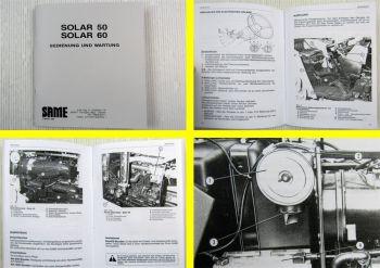 Same Solar 50 60 Schlepper Betriebsanleitung Bedienung Wartung