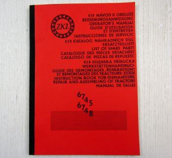 Zetor 6745 6748 Ergänzung Betriebsanleitung Ersatzteilliste Werkstatthandbuch