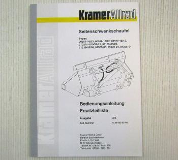 Kramer Seitenschwenkschaufel Betriebsanleitung Ersatzteilliste 1997