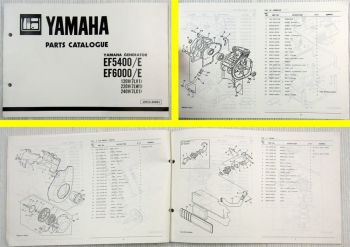 Yamaha EF 5400 6000 E 7LV1 7LW1 7LX1 Generator Parts Catalogue 1988